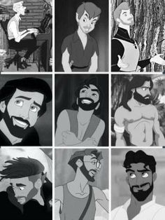 Disney guys with facial hair. I like the scruff on most of them.