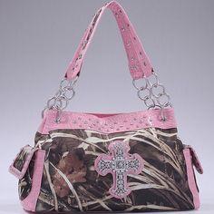 Realtree® Camo Rhinestone Cross Handbag with Chain Straps