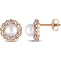 51e6a93a4 Cultured Freshwater Pearl Flower Vintage-Style Stud Earrings in Rose Gold