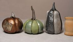Set of three Halloween Steampunk style metallic painted pumpkins
