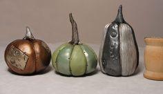 Set of three Halloween Steampunk style metallic painted pumpkins