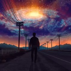 Artwork by Wallpaper Animes, Anime Scenery Wallpaper, Wallpaper Space, Galaxy Wallpaper, Aesthetic Movies, Sky Aesthetic, Applis Photo, Animated Love Images, Space Artwork