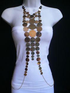 Chain Men Style New Women Gold Retro Disco Balls Fashion Metal Body Chain Jewelry Long Necklace Body Chain Jewelry, Body Jewellery, Dainty Jewelry, Cute Jewelry, Boho Jewelry, Jewelry Shop, Jewelery, Jewelry Design, Jewelry Making