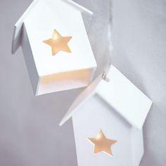 Lichterkette Häuser Sterne Mischholz weiß ca L:1,80 m