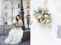 Wedding bouquet in Paris roses silk ribbon