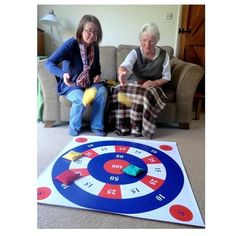 Target throwing for the elderly is a consistently popular game in Day Centres and Care Homes. It's accessible to everyone and lots of fun. # care home activities Number Floor Mat© & Question Card Set Games For Elderly, Elderly Crafts, Elderly Activities, Senior Activities, Crafts For Seniors, Work Activities, Elderly Care, Activity Games, Therapy Activities