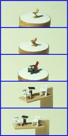OMG ultra miniature 1/144 scale chairs! (Zigzag Chair, Red-Blue Chair, white Steltman Chair)