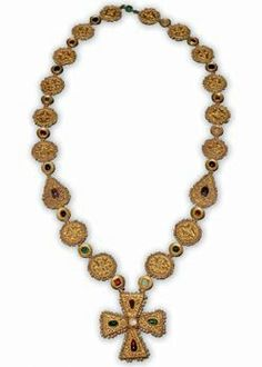Byzantine Necklace with Cross Pendant Byzantium, 6th to 7th century C.E. Gold, Oriental pearls, emerald, sapphire, garnet, spinel, amethyst, colored glass