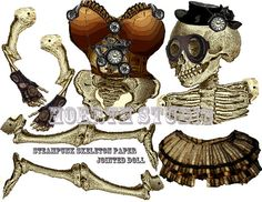 Halloween Steampunk skeleton paper jointed doll instant download