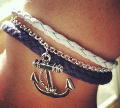 Silver Anchor with Navy Rope Cord and White Leather Layer Bracelet. $9.00, via Etsy.