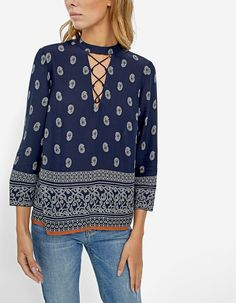 Choker neck shirt with lace-up front - Just in   Stradivarius United Kingdom