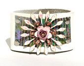 White leather bracelet cuff  lots of vintage fashion flare