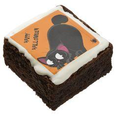 #Halloween Black Cat and Spider Chocolate Brownie - #halloween #brownies #sweets #goodies