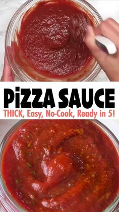This Easy & Thick No-Cook Pizza Sauce takes less than 5 minutes to make. It's made with just a few pantry staples, and it's thick & full of flavor! Click 🔗for the full detailed recipe and video! Pizza Sauce Recipe Easy, Healthy Pizza Sauce, Keto Pizza Sauce, Pizza Recipe Video, Vegan Pizza Recipe, Pasta Sauce Recipes, Crust Pizza, Recipe Videos, Pizza Dough