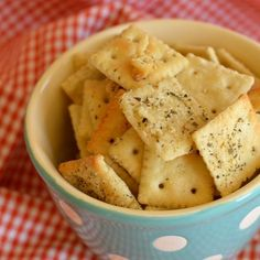 Parmesan Ranch Crackers - easy peasy recipe using the entire box . . . no measuring!!  Uses Premium Mini crackers.  I baked at 275 for 20ish minutes.