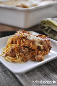 Baked Spaghetti - a perfect family meal everyone will love.  Great dinner time idea.