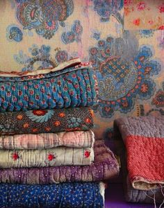 ⋴⍕ Boho Decor Bliss ⍕⋼ bright gypsy color & hippie bohemian mixed pattern home decorating ideas - quilt stack