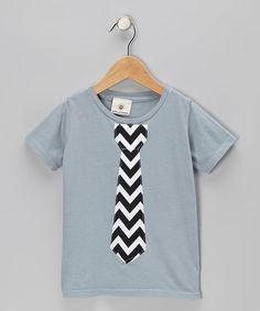 Take a look at this Wonder Me Gray & Black Chevron Tie Tee - Infant, Toddler & Kids on zulily today!