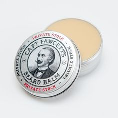 Captain Fawcett's Private Stock Beard Balm. Using the Captain's very own 'Private Stock' fragrance (as found in his award winning Beard Oil & Moustache Wax) we have created a simply splendid Beard Balm, a veritable fusion of 5 base creams and exotic waxes along with Cedarwood, Black Pepper, Patchouli & Palmarosa essential oils. Regular use of his handmade patent pomade will tame, nourish and condition your beard whilst allowing you to shape and style your hirsute pride & joy.