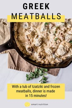 With a tub of tzatziki and frozen meatballs, dinner is made in 15 minutes! #greekfood #meatballs #easymeatballs #quickdinner #easyrecipes #tastydinner #beefrecipes #groundbeefrecipes #easydinner greekfood meatballs easy meatballs quick dinner easy recipes tasty dinner beef recipes ground beef recipes easy dinner