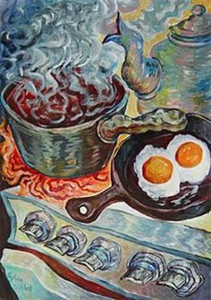 sylvia siddell - white squiggle highlights Painting Still Life, Surrealism, Objects, Rock, Nature, Drinking, Highlights, Animals, Artists