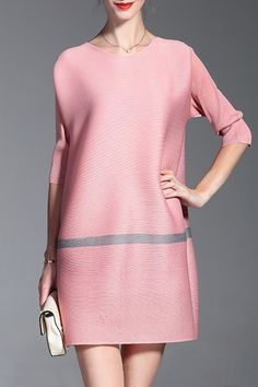 Shyslily Pink Loose Pleated A Line Dress | Mini Dresses at DEZZAL Click on picture to purchase!
