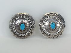 Native American Earrings Round Silver Turquoise by MicheleACaron