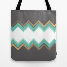 Chic Tote Bag by Katayoon Photography & Designs  #design #chevron #chic #elegant #classy #aqua #turquoise #blue #green #brown #gray #grey #taupe