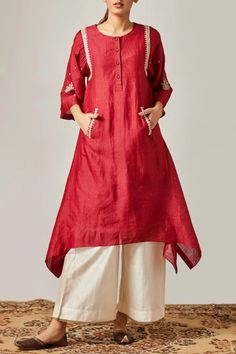 Buy embroidered kurta with pants by myoho at aza fashions. Lengha Blouse Designs, Churidar Designs, Kurta Designs Women, Kurti Neck Designs, Dress Neck Designs, Stylish Kurtis Design, Stylish Dress Designs, Stylish Dresses For Girls, Simple Pakistani Dresses