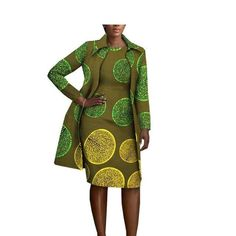 African Cotton Women Full-Sleeve Knee-Length Jacket - All About African Bridesmaid Dresses, African Print Dresses, African Dresses For Women, African Attire, African Wear, African Fashion Dresses, African Women, African Tops, Ankara Fashion