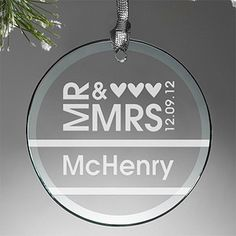 Love this stunning Mr. & Mrs. Personalized Glass Ornament - it's only $4.48 from PMall because it's their Christmas in July sale! #Wedding #Anniversary #Gift