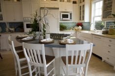 Idea of the Day: White Cottage Kitchen with blue countertops and blue subway tile backsplash. White Galley Kitchens, White Cottage Kitchens, Galley Kitchen Design, White Kitchen Cabinets, Kitchen Redo, New Kitchen, Kitchen Remodel, Kitchen Ideas, Kitchen Designs