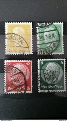 RARE SET LOT 5+6+12+80 PFENNIG GERMANY EMPIRE 1929+1931-35  DEUTSCHE REICH STAMP TIMBRE - Germany