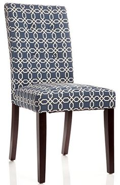 With attached cushions, this parson's chair is perfect for your dining room. It features a fun pattern that will complement any dining room decor.