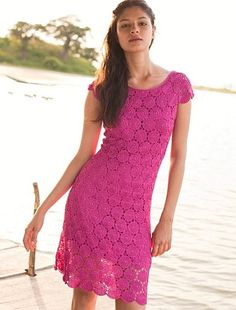Pink Round Motif Dress free crochet graph pattern