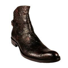 Jo Ghost Mens Shoes Black Embossed Leather Brown Boots