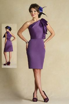 Asymmetric One Shoulder Ruched Short Purple Bridesmaid Dresses