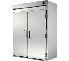 "Refrigerator, Roll-in, two-section, [accommodates (2) 27""W x 29""D x 72""H carts (not included)], stainless steel exterior & interior, 34-1/2""D, (2) stainless steel doors, with cam-lift hinging, locks, exterior digital temp display, stainless steel ramps,"