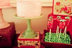 Cake pops! Vintage Strawberry Shortcake Themed Birthday Party Planning via Kara's Party Ideas - www.KarasPartyIdeas.com