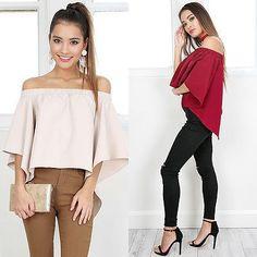 Fashion Sexy Women Blouse Off Shoulder Long Sleeve Casual Shirt Tops