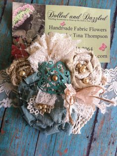 Turquoise Green Ivory/ Burlap and Lace/ Bridal by DolledandDazzled, $21.50