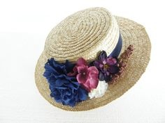 Items similar to Hat Boater Eveline with flowers on Etsy Boater Hat, Blue Ribbon, Summer Looks, Different Colors, Panama Hat, My Style, Hats, Inspiration, Flowers