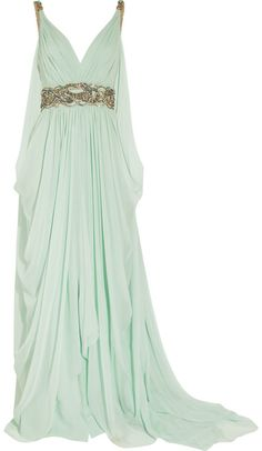 Marchesa Crystalembellished Silkchiffon Gown in Green (aqua)