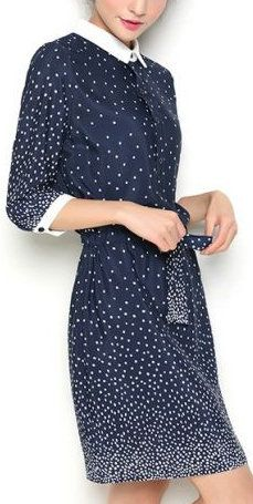 Navy Contrast Collar Half Sleeve Polka Dot Chiffon Dress; I would wear this if I were going to lunch with my fave uncle.
