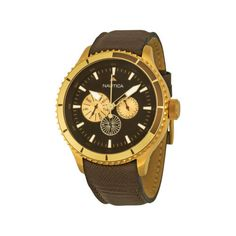 Nautica BFD 104 Multi-Function Brown Dial Brown Leather Strap Mens Watch A21544G