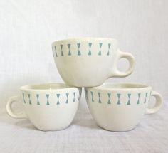 3 VTG 1950's MID CENTURY HOMER LAUGHLIN BEST CHINA RESTAURANTWARE COFFEE CUPS