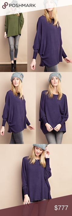 🎁TODAY ONLY🎁SALE🎄🎅🏼15% OFF BUNDLES🎅🏼 This listing is for eggplant. Soft and cozy. Brushed knit tunic top with stitch detailing. Poly/rayon/spandex blend. Loose fit. True to size. Available in OLIVE and eggplant. Sweaters Shrugs & Ponchos