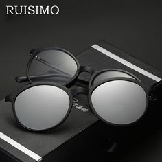1b7031d309 Polarized Sunglasses round Unisex Clip On Sunglasse Vintage Designer Sun  Glasses Man Woman oculos de sol