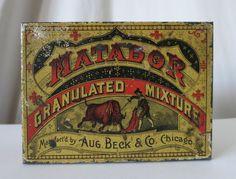 MATADOR ANTIQUE TOBACCO TIN, AUG. BECK & CO., CHICAGO