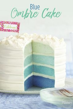 This Blue Ombre Cake from Pillsbury Baking is easy to make with just a few drops of food coloring! Try this impressive dessert recipe for your next party.